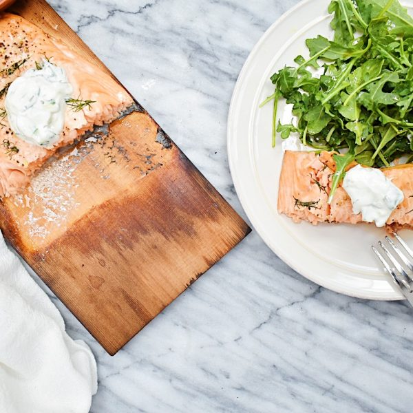 Cedar Plank Grilled Salmon with Cucumber, Dill Yogurt Sauce