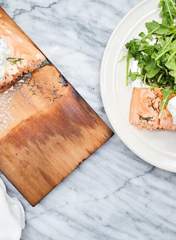 Cedar Plank Grilled Salmon with Cucumber, Dill Yogurt Sauce