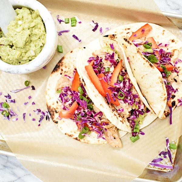 Smoky Pulled Chicken Tacos with Citrus Slaw and Creamy Guacamole
