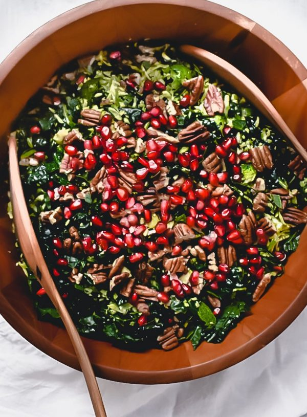 Shaved Kale and Brussels Sprout Salad with Lemon-Tahini Dressing