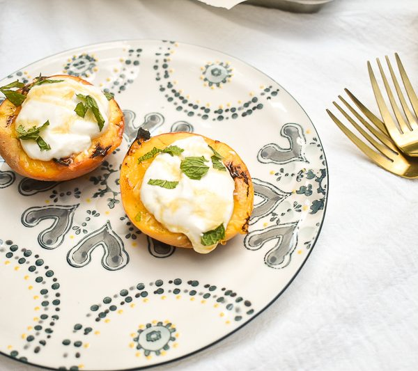 The Easiest Grilled Peaches with Honey Ricotta