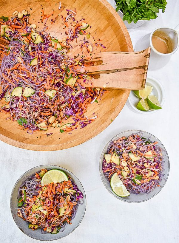 Kelp Noodle Salad with Asian-Style Peanut Dressing