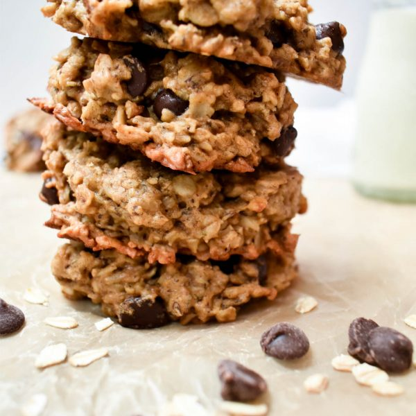 Giant Oatmeal, Banana, Peanut Butter Breakfast Cookies