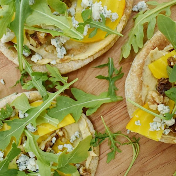 Grilled Pita Pizzas with Hummus, Beets, and Walnuts