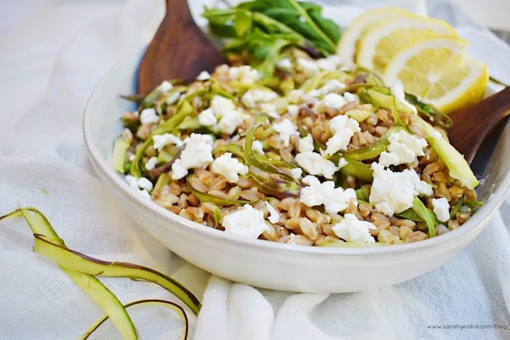 Just a few ingredients pack a ton of flavor into this side salad. Nutty farro paired with crunchy asparagus, and creamy feta tossed with a bright lemony dressing and fresh mint create a light, yet filling side ready complement all things grilled or BBQ this summer.