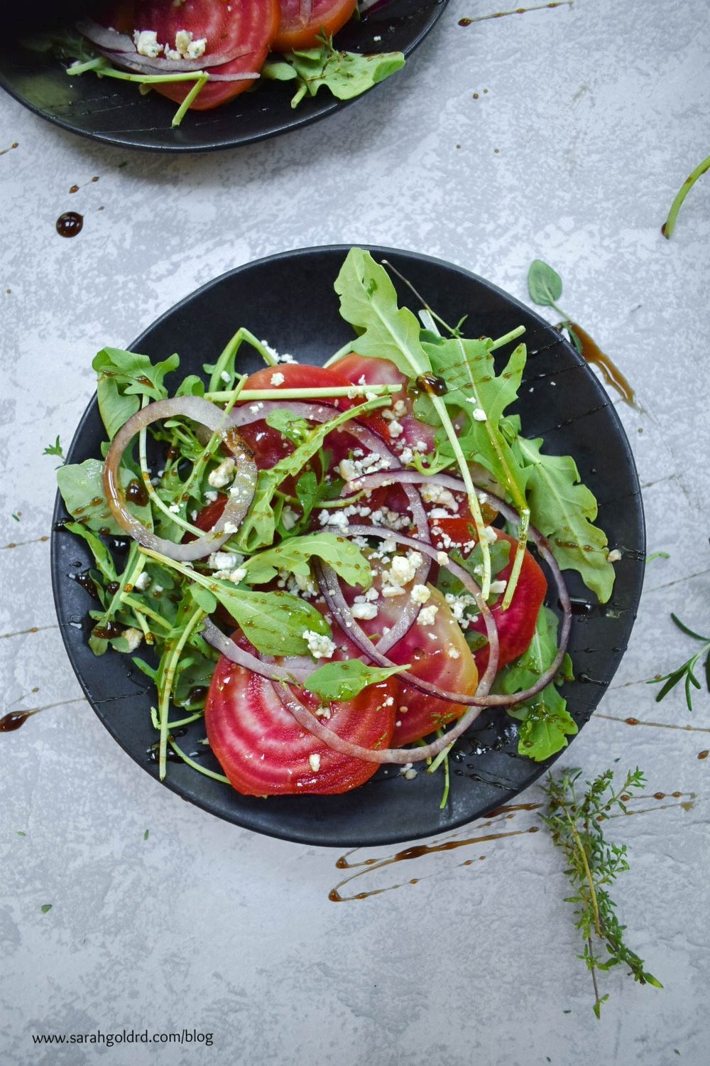 candy stripe beet salad with arugula and gorgonzola.jpg