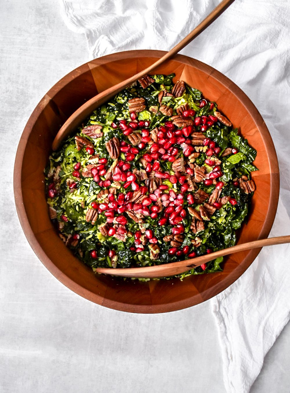 kale, Brussels sprout, pomegranate, pecan salad.jpg