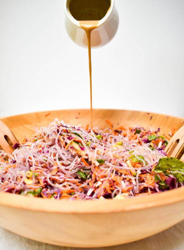 Summer Kelp Noodle Salad with Ginger Peanut Dressing
