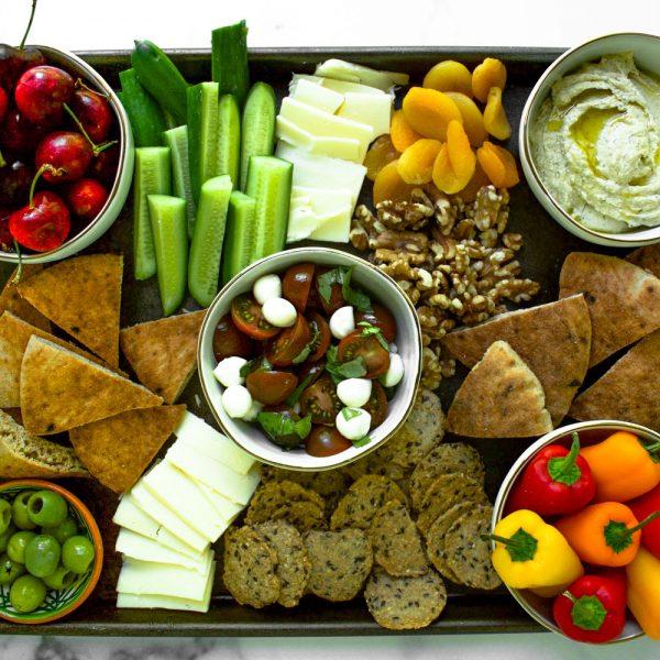 Sheet pan Mediterranean Mezze Platter (Vegetarian)