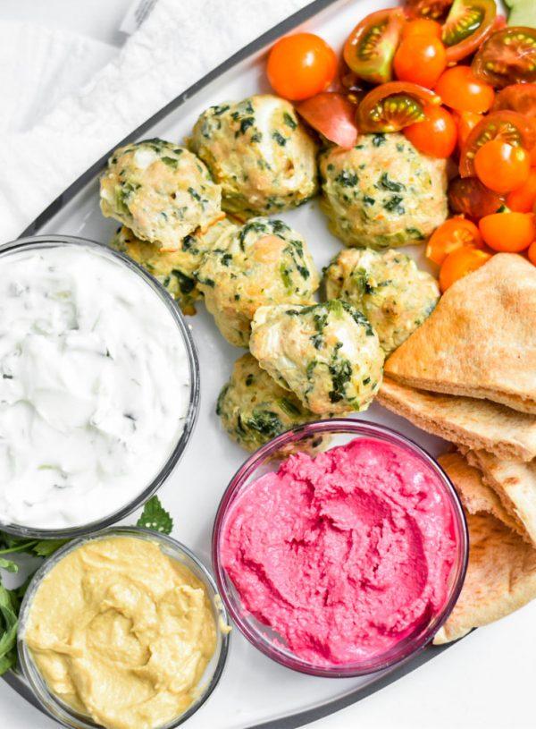 The Easiest Greek Turkey Meatballs Souvlaki Plate