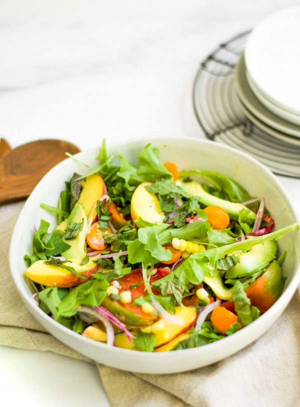 Heirloom Tomato, Corn, and Grilled Peach Salad