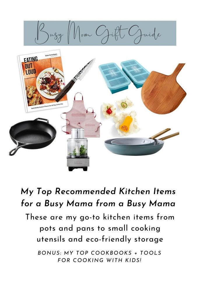 image with busy mom gift guide and sample images of linked gifts from the whole post.