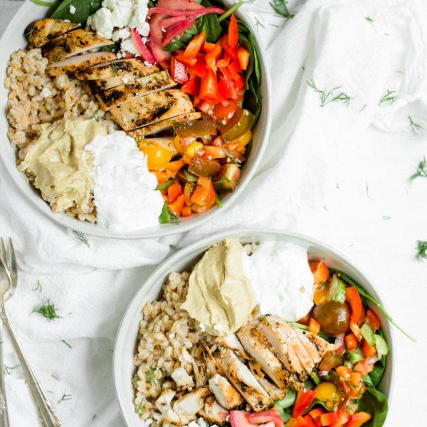Weeknight Mediterranean Grain Bowl with Chicken